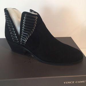 Vince Camino black suede booties size 7.5 NIB